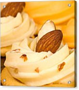 Cheddar Cheese On Crackers With Almonds Acrylic Print