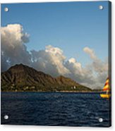 Cheerful Orange Catamaran And Diamond Head - Waikiki - Hawaii Acrylic Print
