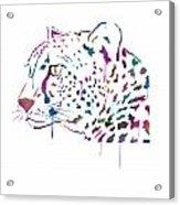 Cheetah Watercolor - White Acrylic Print