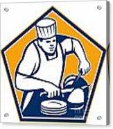 Chef Cook Slicing Ham Retro Acrylic Print