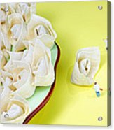 Chef Discussing Wonton Recipe Acrylic Print by Paul Ge