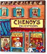 Chenoys Delicatessen Montreal Landmarks Painting  Carole Spandau Street Scene Specialist Artist Acrylic Print