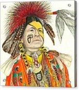 Cherokee In Orange Acrylic Print by Lew Davis