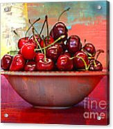 Cherries On The Table With Textures Acrylic Print