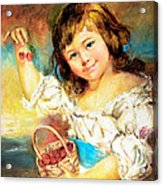 Cherry Basket Girl Acrylic Print