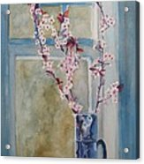 Cherry Blossoms In A Blue Pitcher Acrylic Print