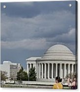 Cherry Blossoms With Jefferson Memorial - Washington Dc - 011341 Acrylic Print