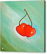 Cherry Hearts Acrylic Print by Heather Matthews