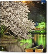 Cherry Blossom Temple Boat Acrylic Print