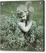 Cherub Statue In The Garden Acrylic Print