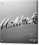 Chevrolet Malibu Ss Emblem Black And White Picture Acrylic Print