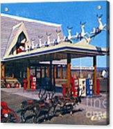 Chevron Gas Station At Santa's Village With Reindeer And Carl Hansen Acrylic Print