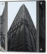 Chicago Abstract Before And After John Hancock Sw Facades Triptych 3 Panel Acrylic Print