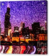 Chicago At Night Digital Art Acrylic Print by Paul Velgos