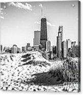 Chicago Beach And Skyline Black And White Photo Acrylic Print