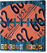 Chicago Bears Football Recycled License Plate Art Acrylic Print