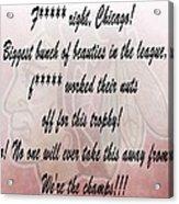 Chicago Blackhawks Crawford's Speech Acrylic Print