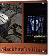 Chicago Blackhawks United Center Signage 2 Panel Tan Acrylic Print