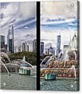 Chicago Buckingham Fountain 2 Panel Looking West And North Black Acrylic Print