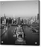 Chicago By Air Bw Acrylic Print