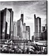 Chicago River Buildings Black and White Photo Acrylic Print