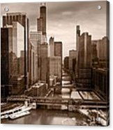 Chicago City View Afternoon B And W Acrylic Print