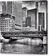 Wells Street Bridge Chicago HDR Photo Acrylic Print