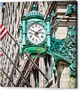 Chicago Clock On Macy's Marshall Field's Building Acrylic Print