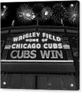 Chicago Cubs Win Fireworks Night B W Acrylic Print