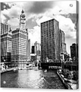 Chicago Downtown At Michigan Avenue Bridge Picture Acrylic Print