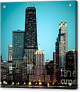 Chicago Downtown At Night With Hancock Building Acrylic Print