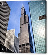 Chicago Downtown City Buildings With Willis-sears Tower Acrylic Print