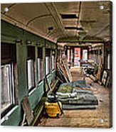 Chicago Eastern Il Rr Car Restoration With Blue Print Acrylic Print