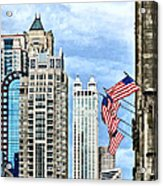 Chicago - Flags Along Michigan Avenue Acrylic Print