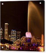 Chicago Fountain At Night Acrylic Print