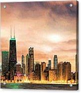 Chicago Gotham City Skyline Panorama Acrylic Print