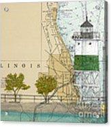 Chicago Harbor Se Guidewall Lighthouse Il Nautical Chart Art Acrylic Print