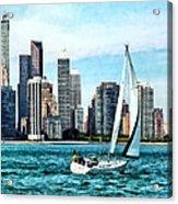Chicago Il - Sailboat Against Chicago Skyline Acrylic Print