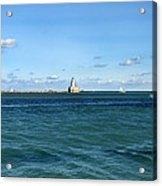 Chicago Illinois Harbor Lighthouse And Little Lady Tour Boat Usa Acrylic Print