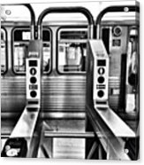 Chicago L Train Gate In Black And White Acrylic Print