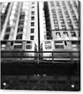 Chicago L Train In Black And White Acrylic Print