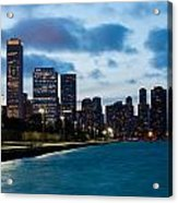 Chicago Lake Front At Blue Hour Acrylic Print