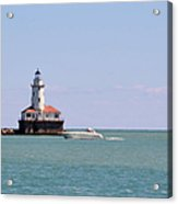 Chicago Light House With Boat In Lake Michigan Acrylic Print