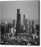 Chicago Looking East 02 Black And White Acrylic Print
