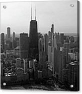 Chicago Looking South 01 Black And White Acrylic Print