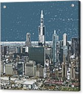 Chicago Looking West In A Snow Storm Digital Art Acrylic Print
