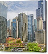 Chicago Loop Downtown Skyline From Chicago River   Acrylic Print