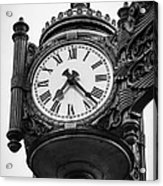 Chicago Macy's Marshall Field's Clock In Black And White Acrylic Print