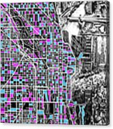 Chicago Map Drawing Collage 4 Acrylic Print