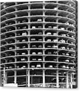 Chicago Marina City Parking Bw Acrylic Print